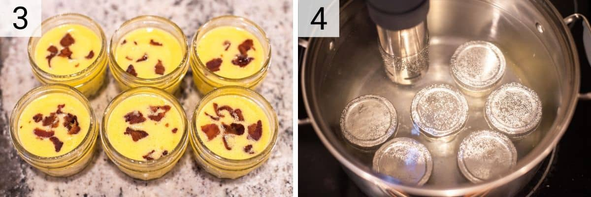 process shots of adding egg mixture to mason jars and cooking in a water bath with sous vide
