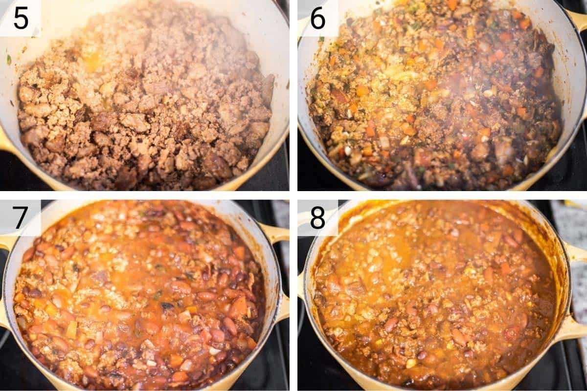 process shots of cooking beef and sausage before adding in veggies, spices and stock and cooking until ready