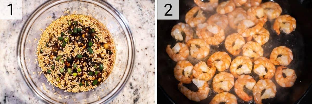 process shots of preparing teriyaki sauce in bowl and cooking shrimp in skillet