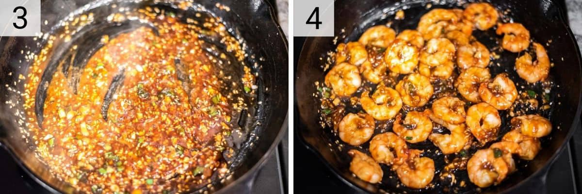 process shots of cooking sauce and tossing shrimp in it