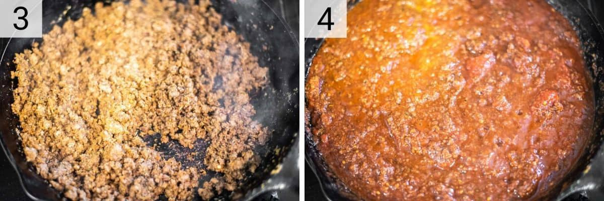 process shots of cooking beef in skillet before stirring in wine, herbs and tomatoes