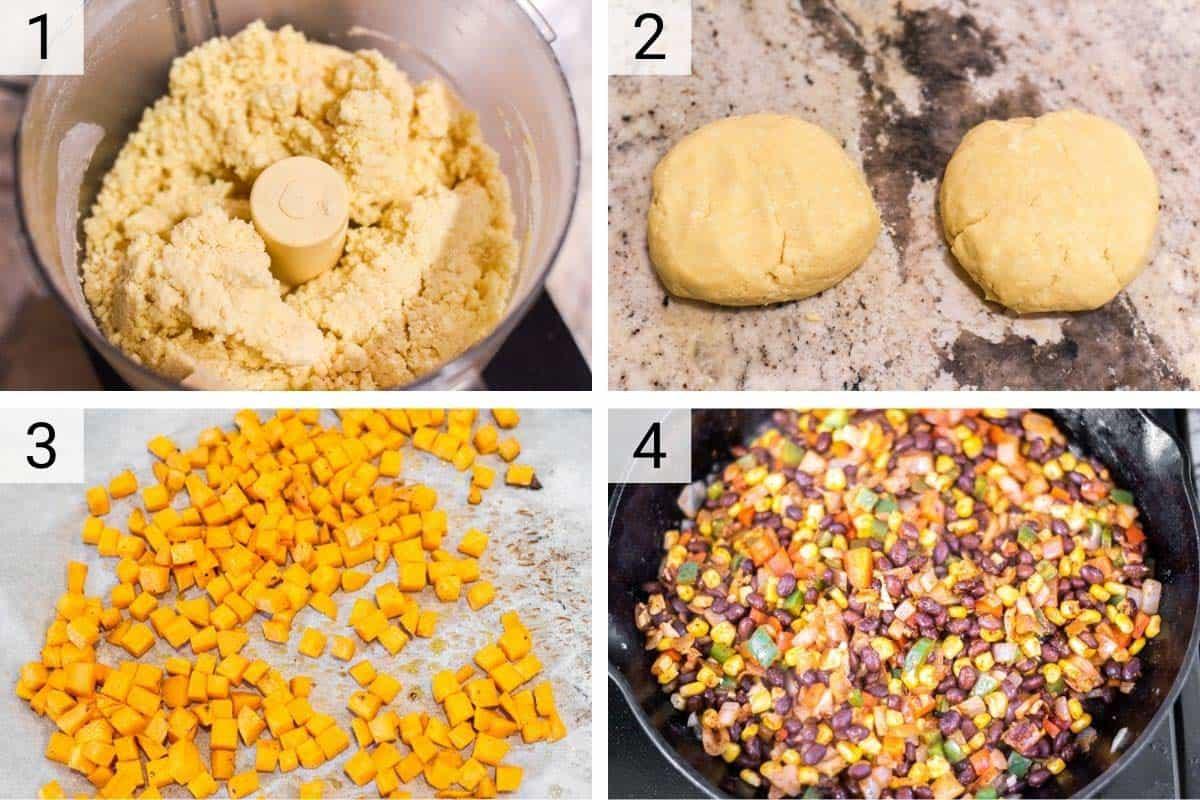 process shots of making empanada dough, roasting sweet potatoes and mixing veggies in skillet