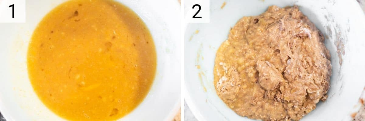 process shots of mixing wet ingredients before adding dry ingredients