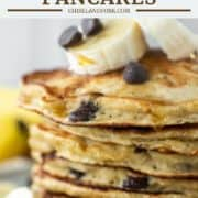 close-up of stacked banana chocolate chip pancakes on plate