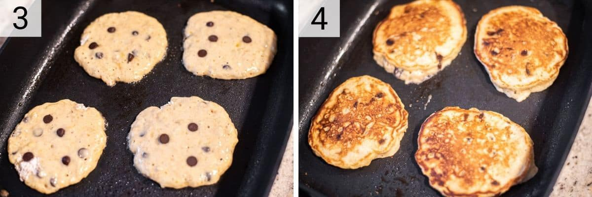 process shots of cooking pancakes on skillet and flipping