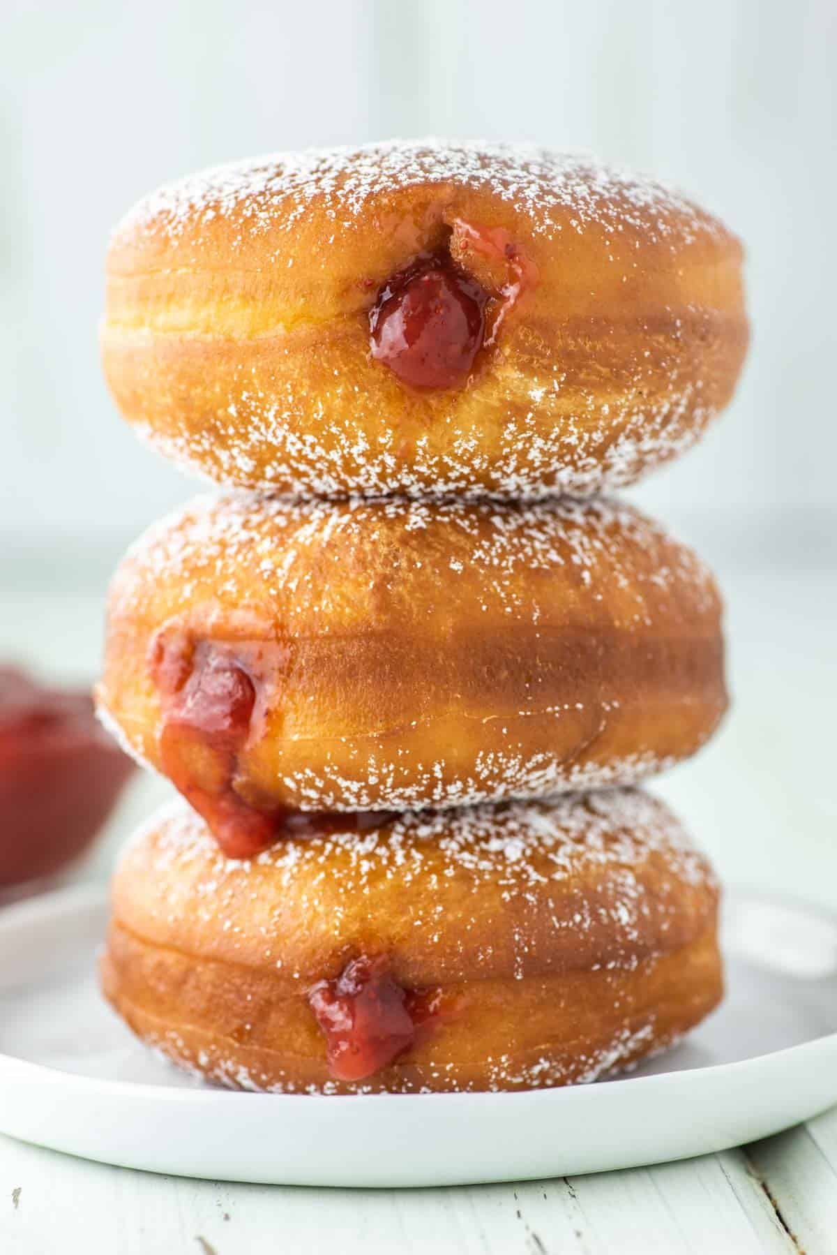 3 berliner donuts stacked on top of each other