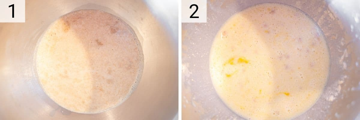 process shots of blooming yeast and adding milk and melted butter