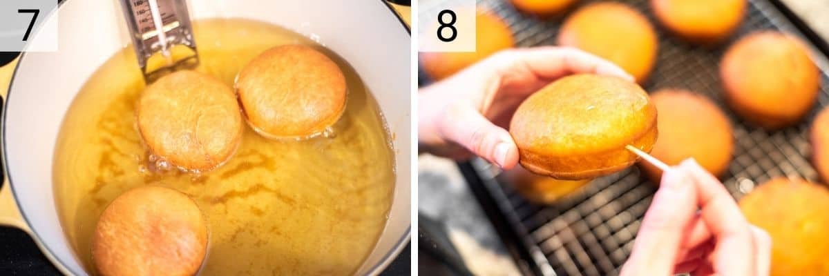 process shots of frying dough and poking hole with toothpick