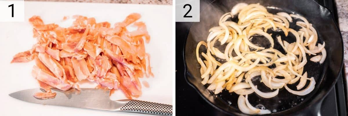 process shots of slicing chicken and then cooking onion in skillet
