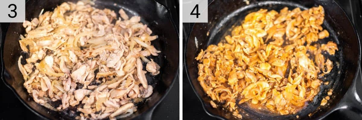 process shots of cooking chicken and then tossing in buffalo sauce