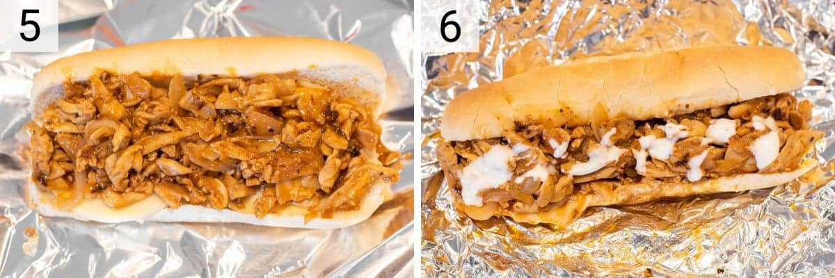 process shots of adding chicken and cheese to hoagie roll and then baking for 10 minutes to melt the cheese