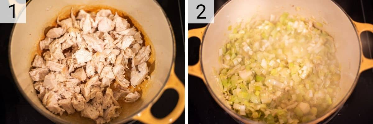 process shots of cooking chicken and then cooking leeks in Dutch oven