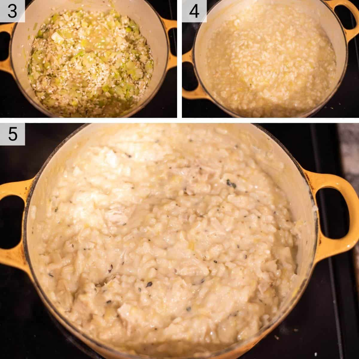 process shots of adding rice before deglazing with wine and stock and then stirring in cheese and chicken once done