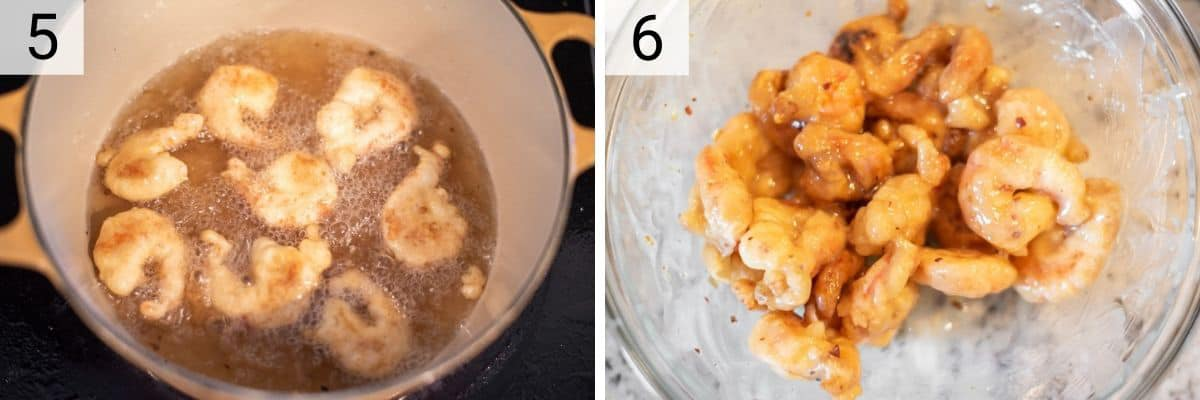 process shots of frying shrimp and tossing in sauce