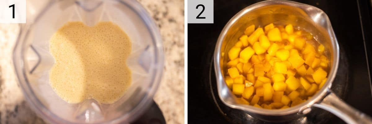 process shots of pureeing crepe batter in blender and cooking down mangos in pan