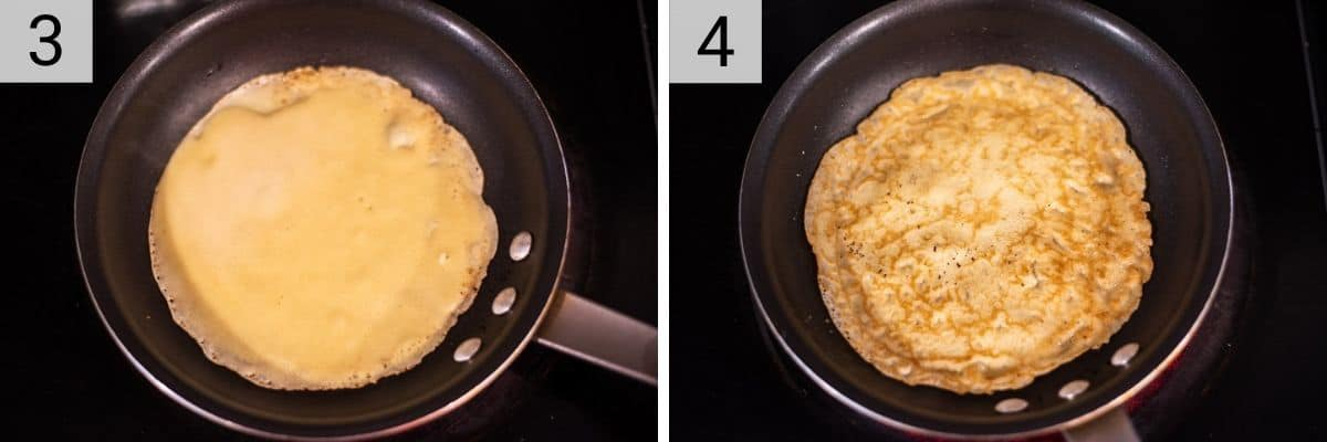 process shots of cooking a crepe in a pan and flipping and cooking another minute
