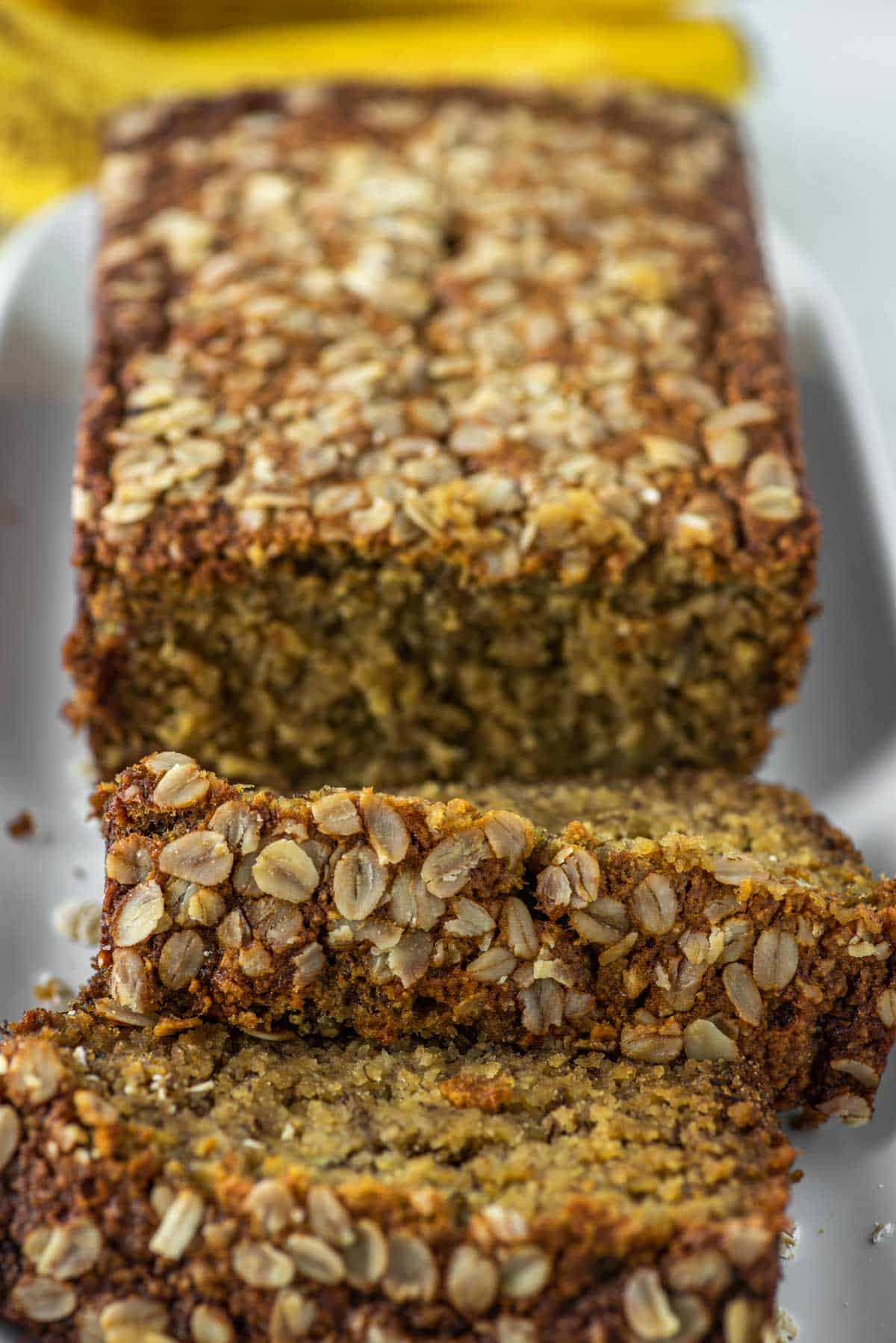 close-up of banana bread made with oats on plate