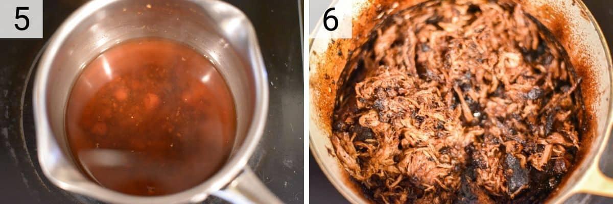 process shots of making BBQ sauce and shredding pork