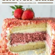 piece of cake cut out and on cake stand with strawberries on top