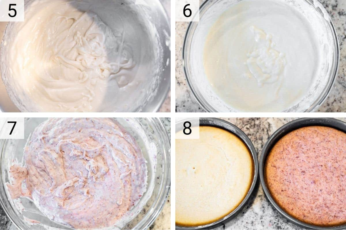 process shots of making cake batter before baking in two cake pans