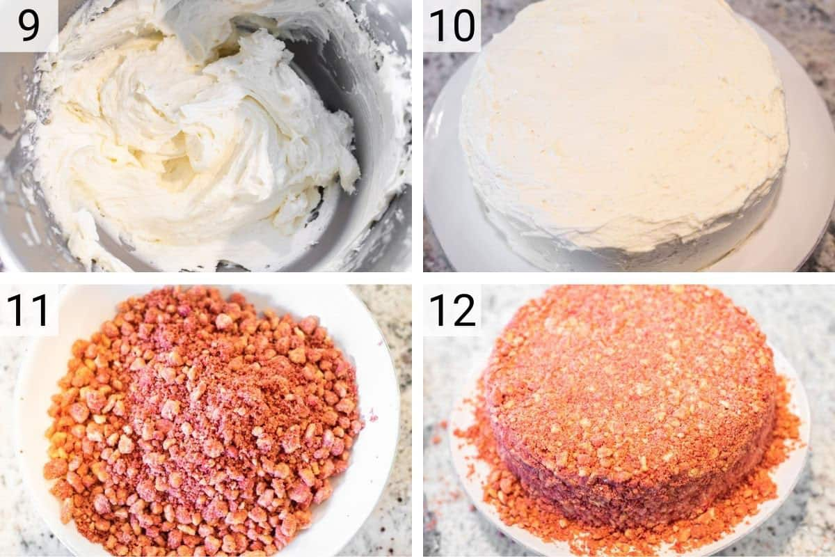 process shots of making vanilla frosting before layer cake and topping with strawberry crunch layer