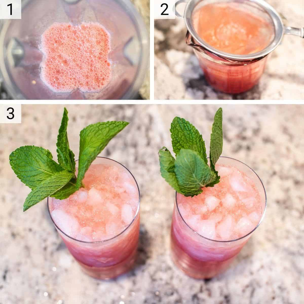 process shots of blending watermelon before pouring through sieve and adding to glass with other ingredients