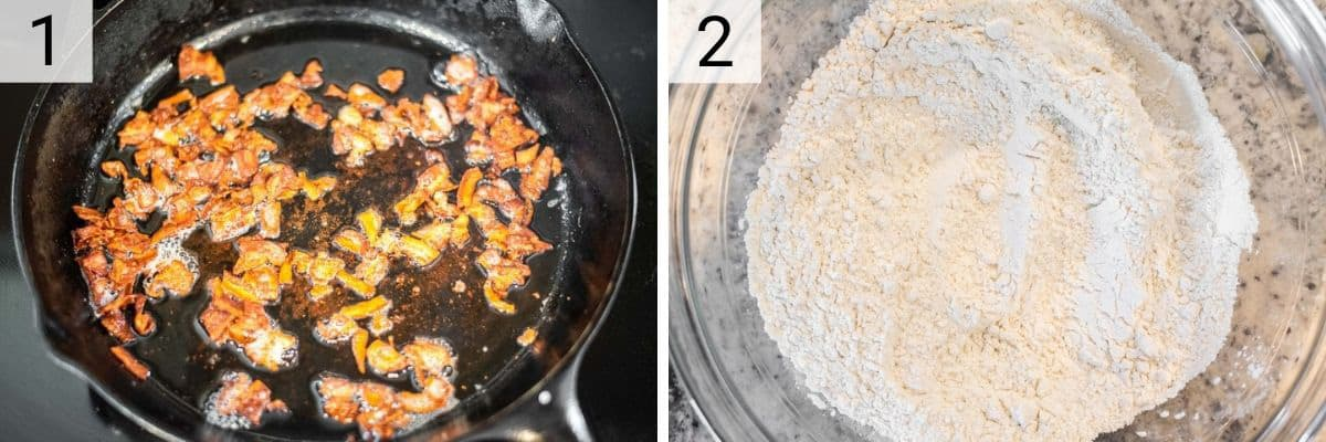 process shots of cooking bacon and mixing dry ingredients in a bowl