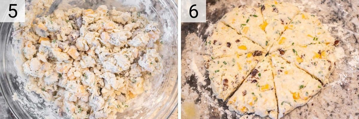 process shots of adding buttermilk to mixture before shaping in disc