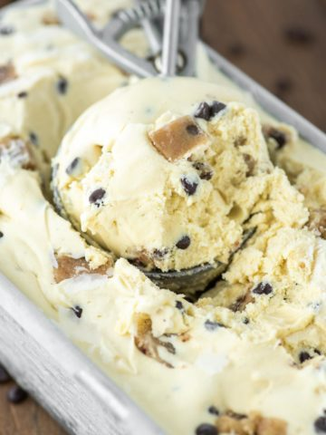 scoop in metal tin of chocolate chip cookie dough ice cream
