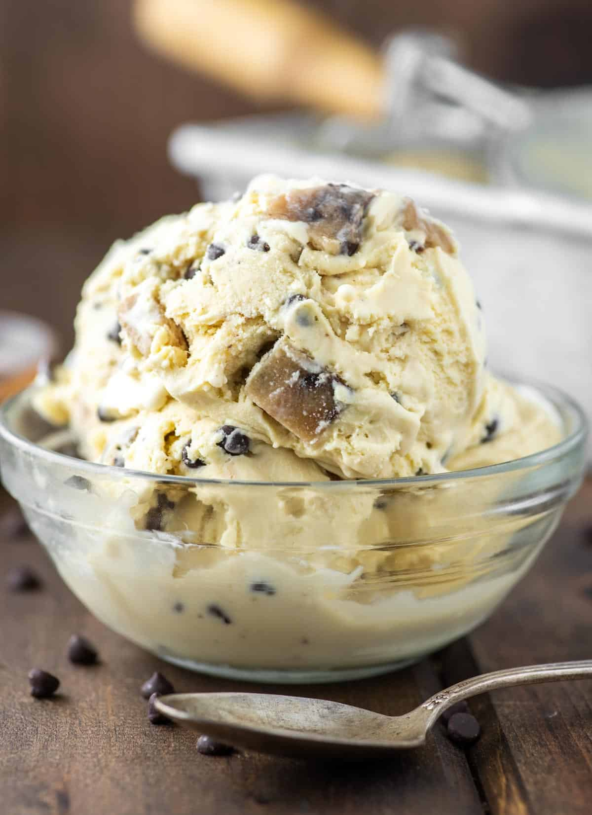 glass bowl of chocolate chip cookie dough ice cream