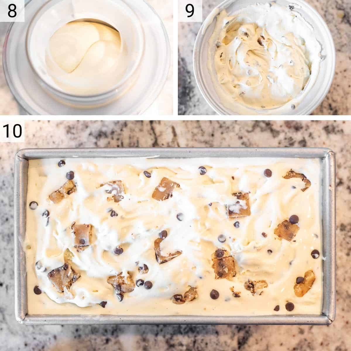 process shots of making ice cream before adding cookie dough and transferring to metal tin