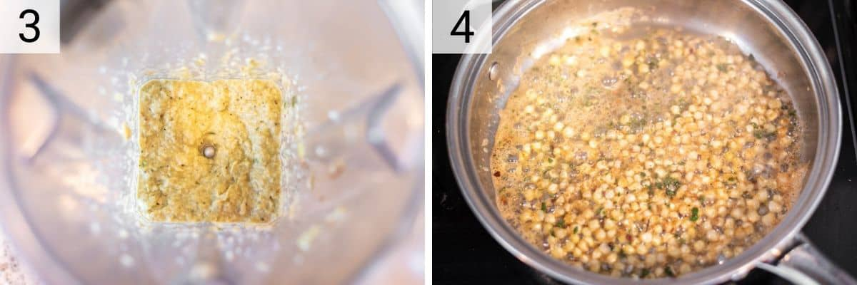 process shots of pureeing corn mixture before cooking corn and herbs in a skillet