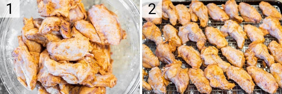 process shots of tossing wings in baking powder and spices and placing on rack