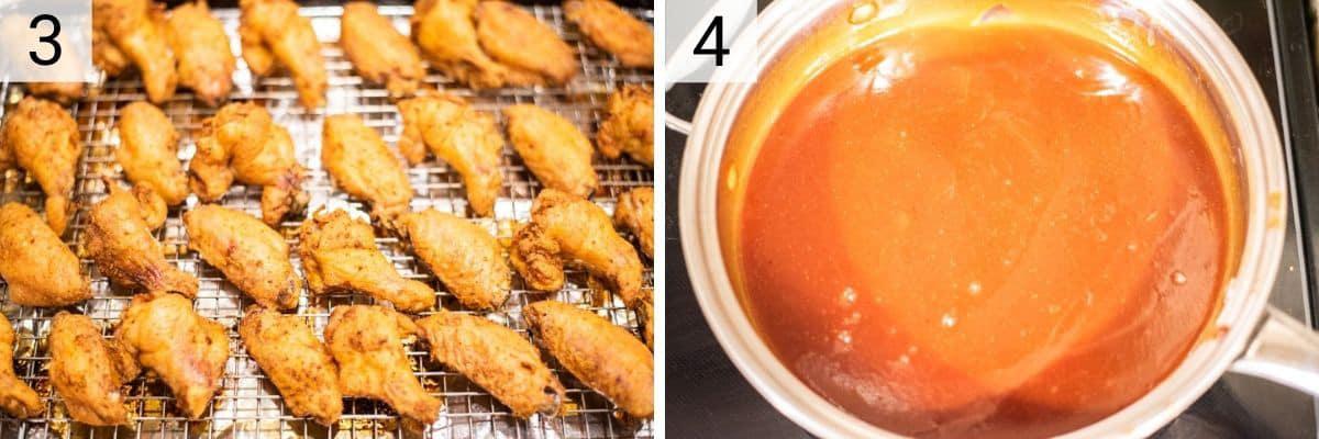 process shots of baking chicken and making honey BBQ sauce