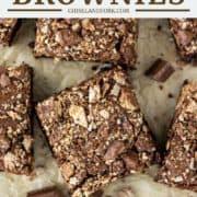overhead shot of brownies stuffed with Kit Kats