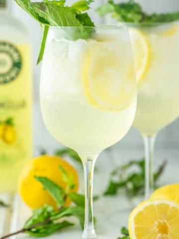 two glasses of limoncello spritz
