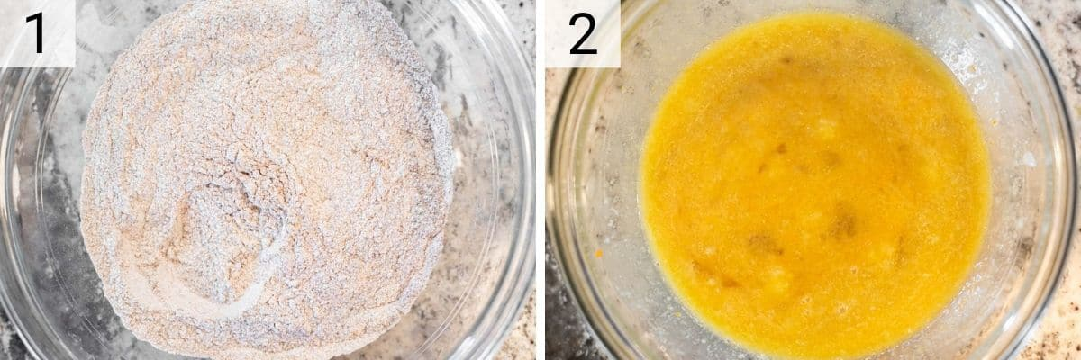 process shots of mixing dry ingredients in one bowl and wet ingredients in another