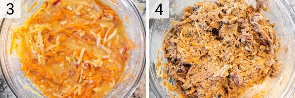 process shots of adding carrots and apples to mixture before adding to dry ingredients