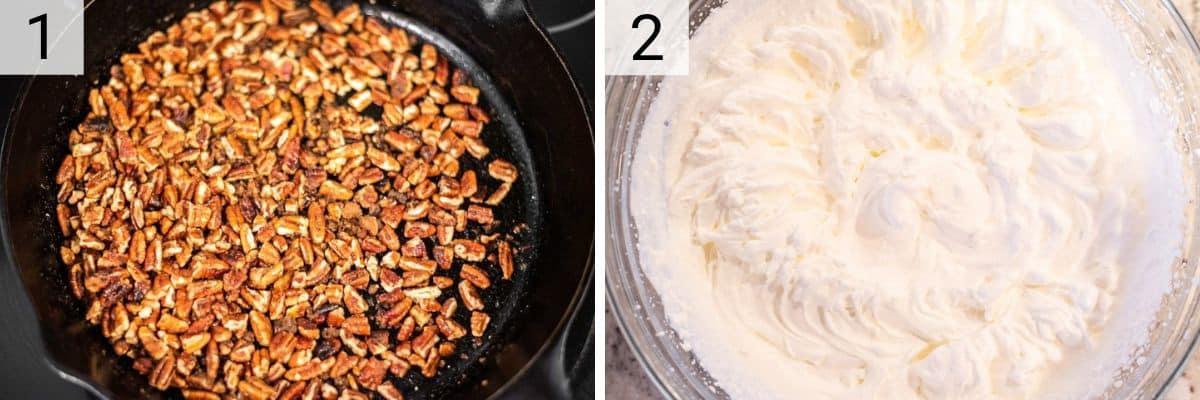 process shots of roasting pecans with sugar and whipping whipped cream