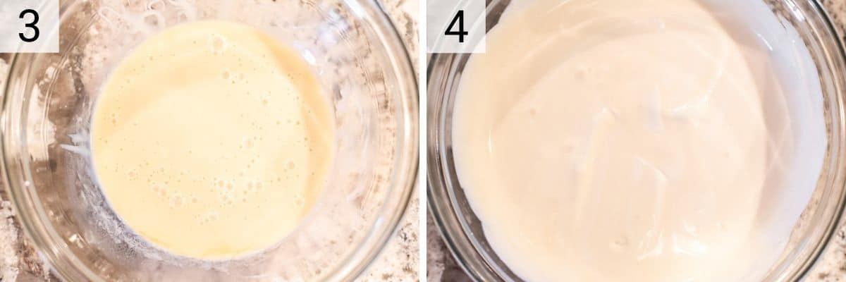 process shots of mixing condensed milk, extracts and salt before folding into whipped cream