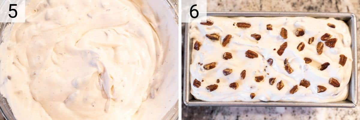 process shots of adding in pecans to ice cream mixture before transferring to loaf pan