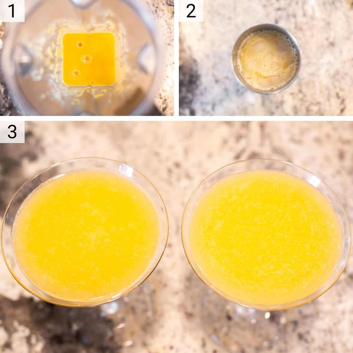 process shots of making martini