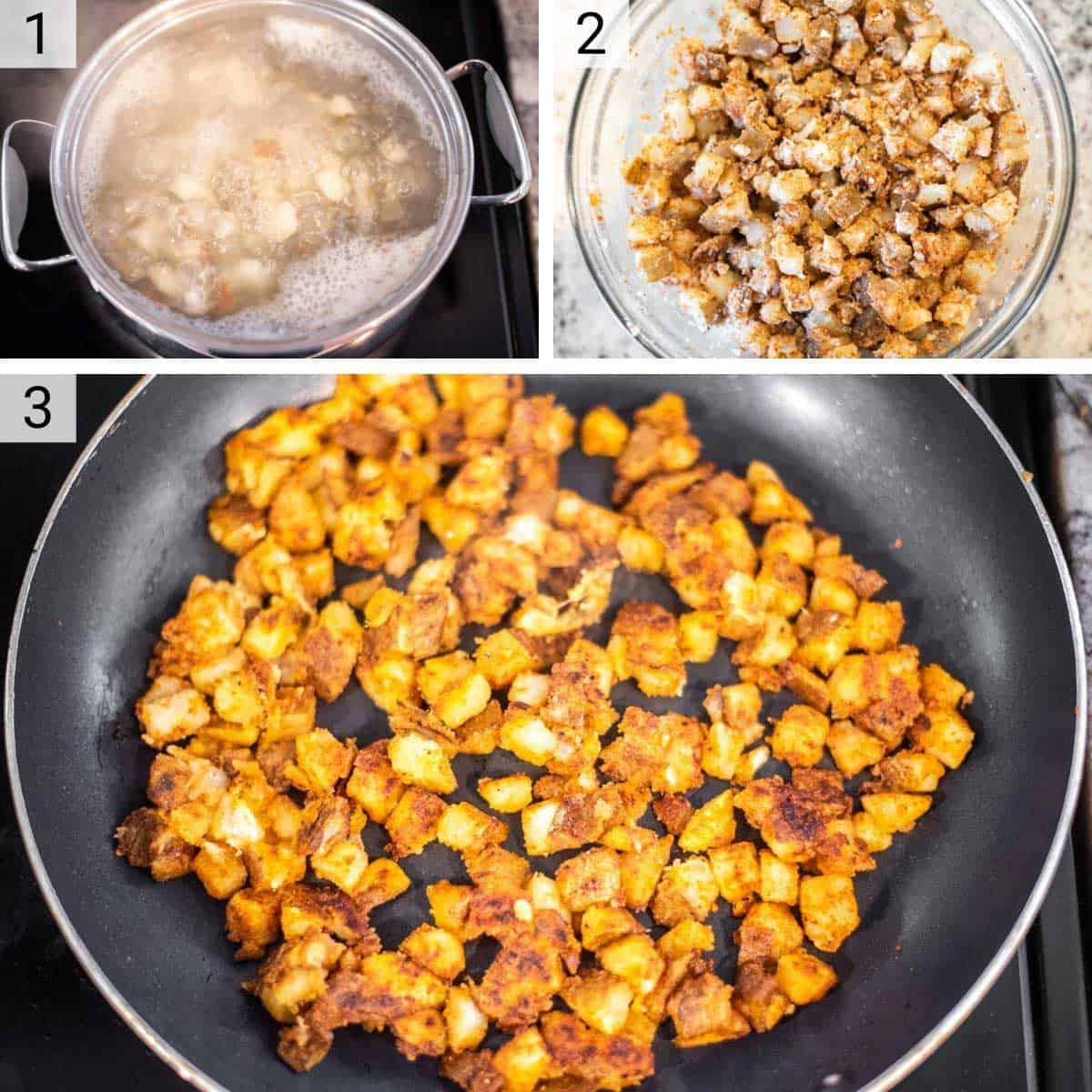 process shots of boiling potatoes before adding spices and cooking on stove top