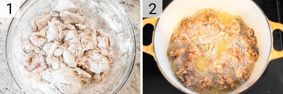 process shots of coating chicken in cornstarch and spices before frying