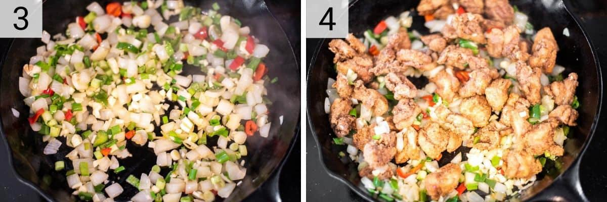 process shots of cooking onions, peppers and garlic before adding chicken