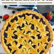 overhead shot of strawberry blueberry pie in pie plate