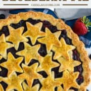 overhead shot of mixed berry pie with stars in pie plate