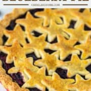 close-up with strawberry and blueberry pie with stars