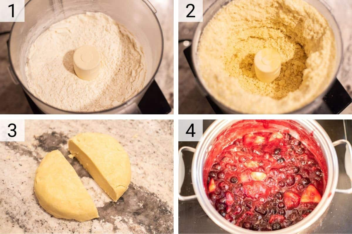 process shots of making the pie crust and making the filling