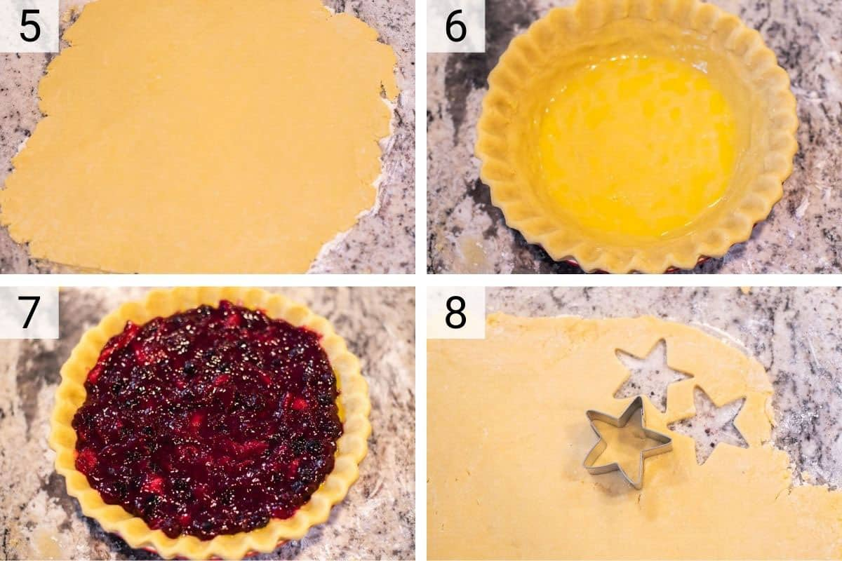 process shots of rolling out pie crust and placing in plate before adding filling. also cutting out stars of pie crust